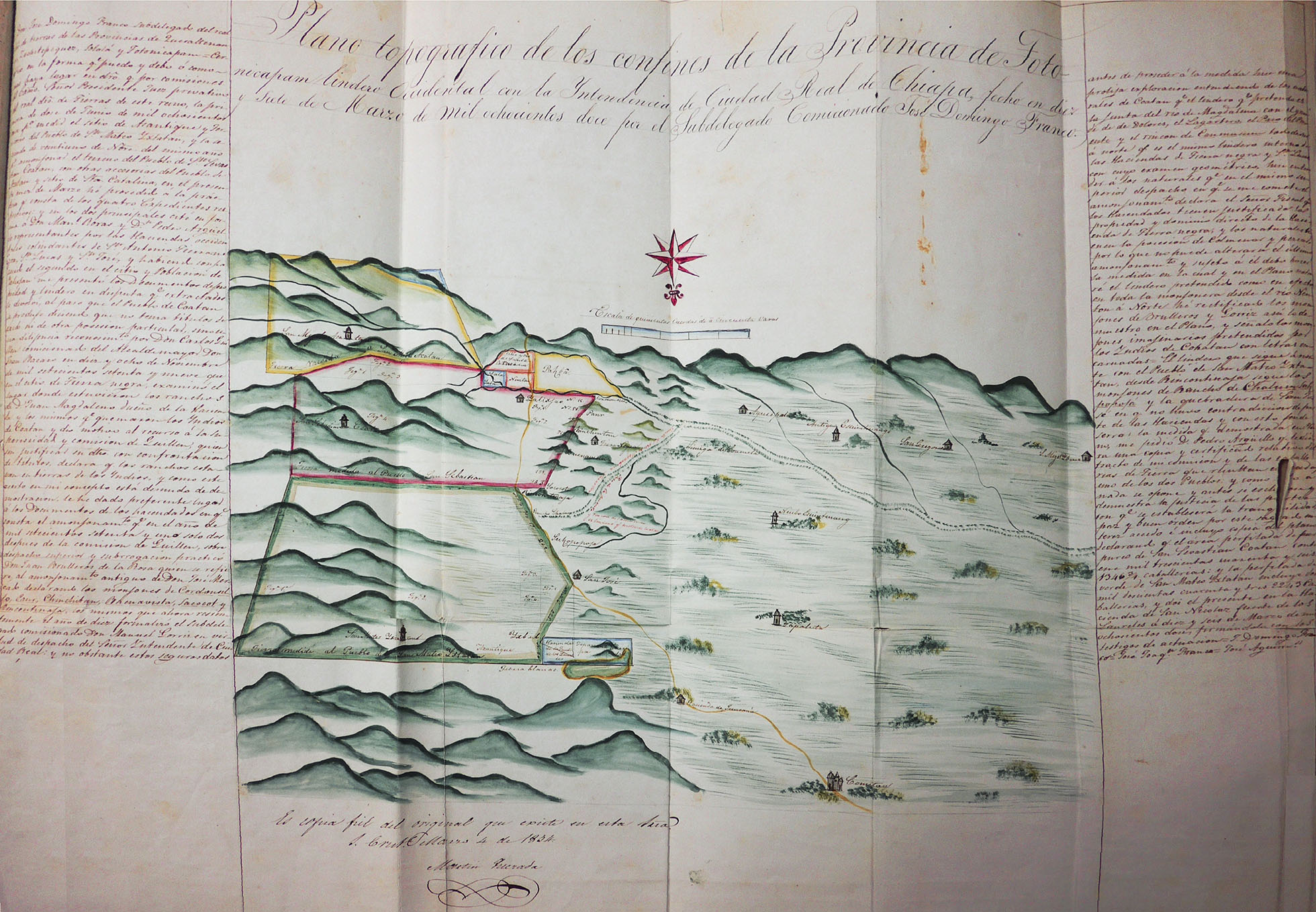 Imagen: Plano topográfico de los confines de la provincia de Totonicapán lindero occidental con la intendencia de Ciudad Real de Chiapa AHGE-SRE, L-E-2000.